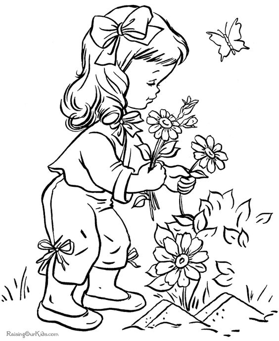 little girl coloring pages not copyrighted | تلوين فتاة تقطف أزهار - تعلم الرسم