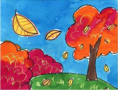 تعلم رسم منظر خريفي تساقط الأوراق تعليم الرسم تعلم الرسم ببساطة