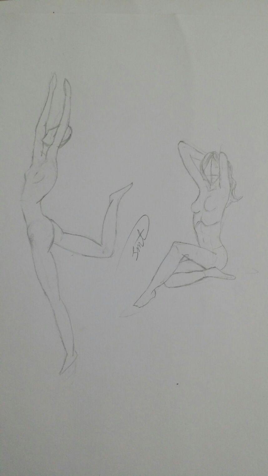 رسم شكل رجل وامرأة بقلم الرصاص