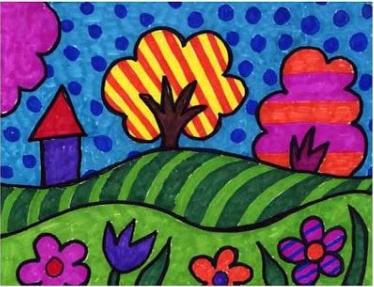 رسم منظر طبيعي تعليم الرسم تعليم الرسم ببساطة للاطفال الصغار