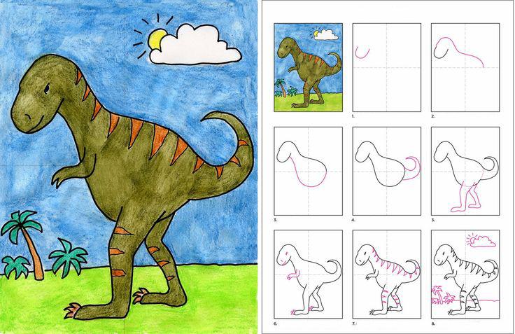 كيف ارسم ديناصور