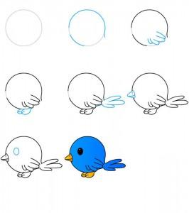 تعلم رسم طائر خطوة بخطوة