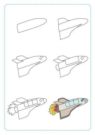 تعلم رسم مكوك فضاء
