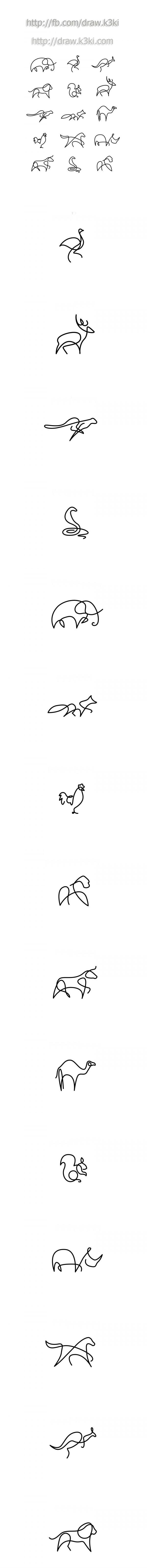 رسم الحيوانات بخط واحد وببساطة