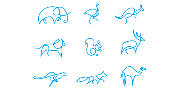 رسم حيوانات بخطوط بسيطة