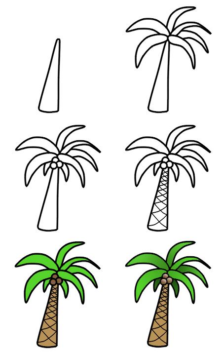 تعلم رسم شجرة النخيل تعليم رسم نخلة خطوة بخطوة