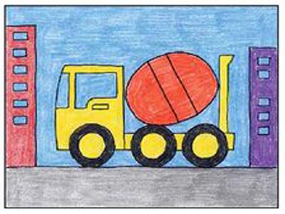 كيفية رسم شاحنه الاسمنت