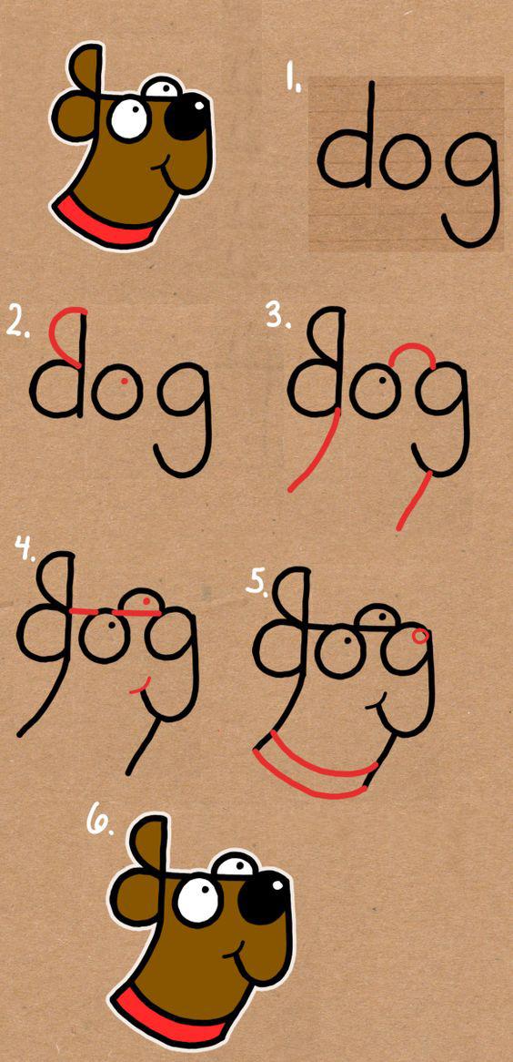 رسم كلب من كلمة Dog