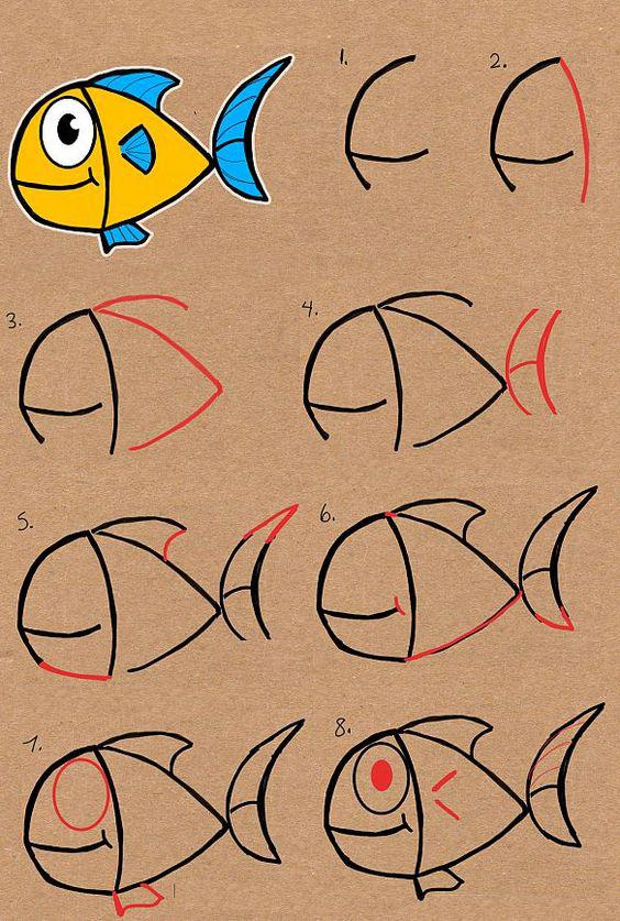 تعلم رسم سمكة من كلمة Fish