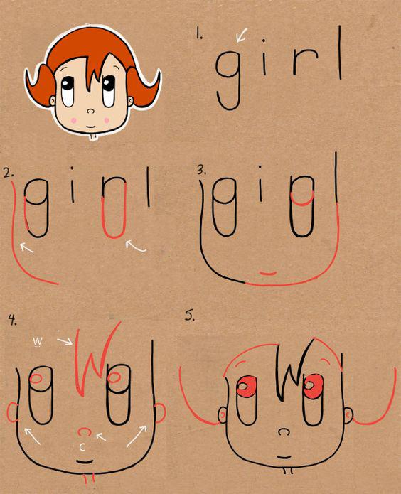 تعلم رسم وجه فتاة من كلمة girl