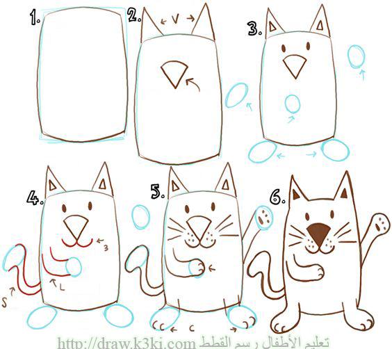 تعليم الأطفال رسم القطط ببساطة