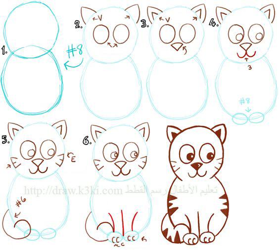 تعليم الأطفال رسم القطط تعلم الرسم تعلم الرسم