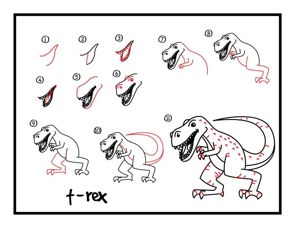 تعلم رسم التيرانوصور