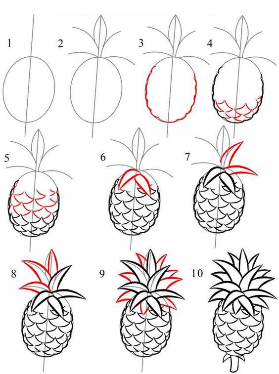 تعلم رسم فاكهة الأناناس خطوة بخطوة تعليم الرسم تعلم الرسم