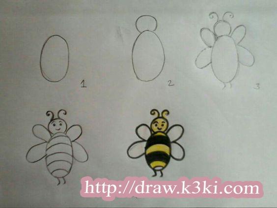 تعليم الطفل الصغير رسم نحلة