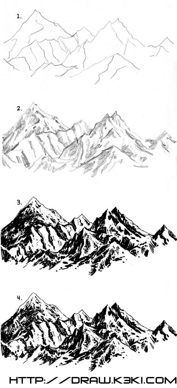تعلم رسم جبل بعدة أشكال مختلفة كيفية رسم جبل تعلم الرسم