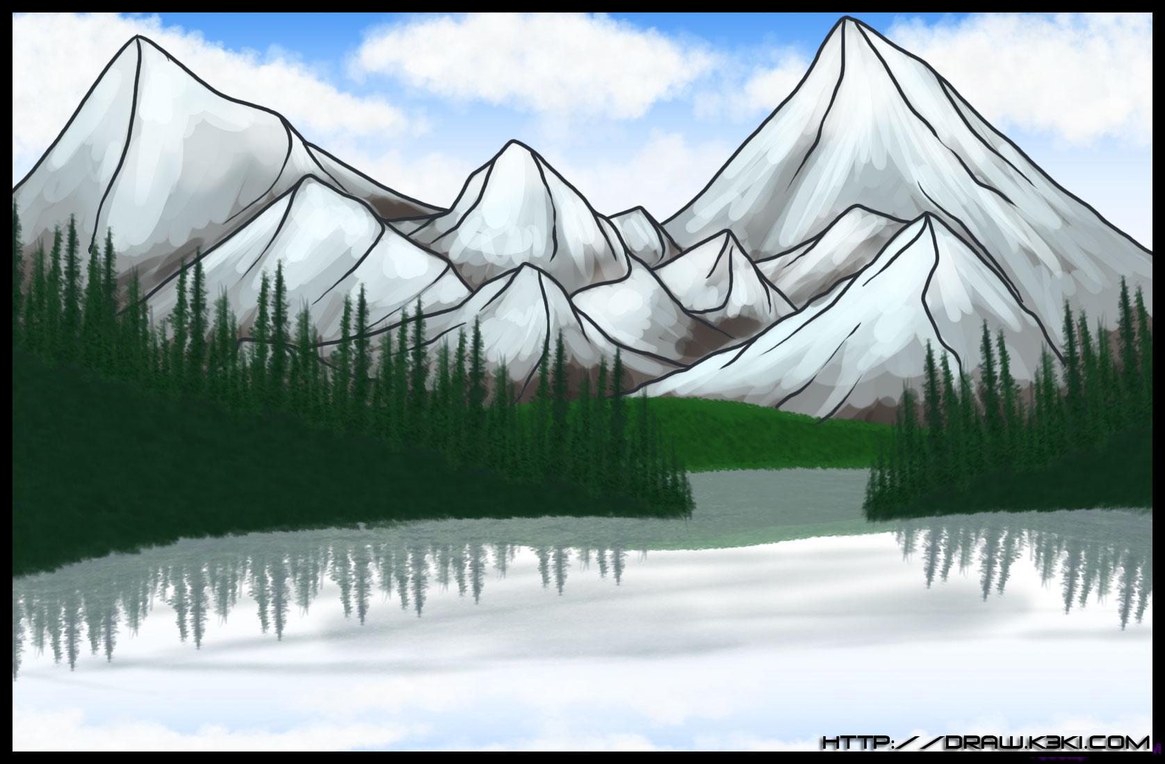 كيفية رسم جبل مع منظر طبيعي