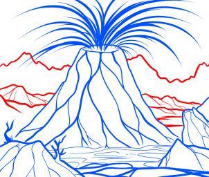 رسم بركان