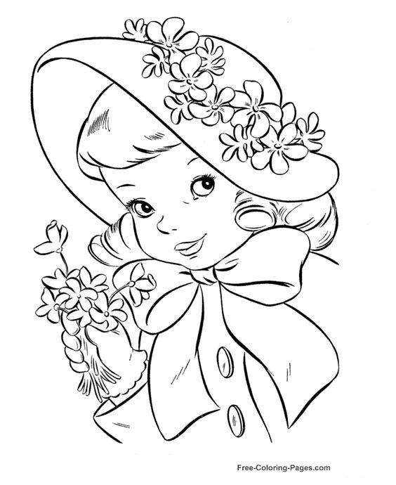 تلوين فتاة تضع قبعة عليها أزهار