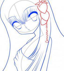تعلم رسم الوجه-وجه فتاة انيمي جميلة