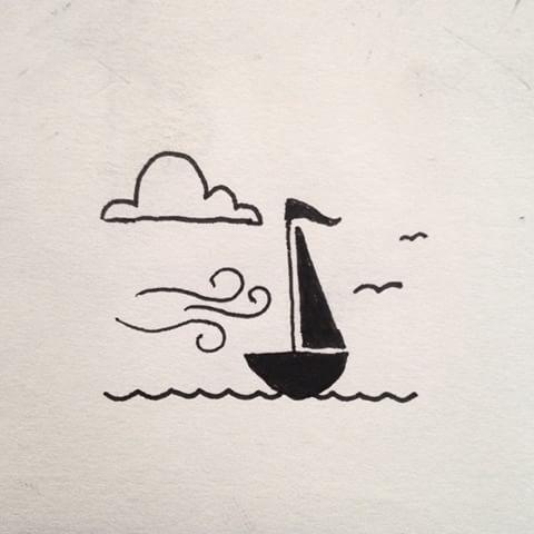 خربشة قارب في البحر