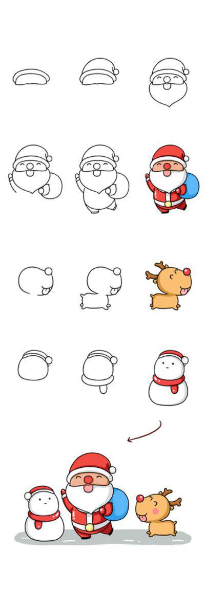 رسم بابا نويل للاطفال
