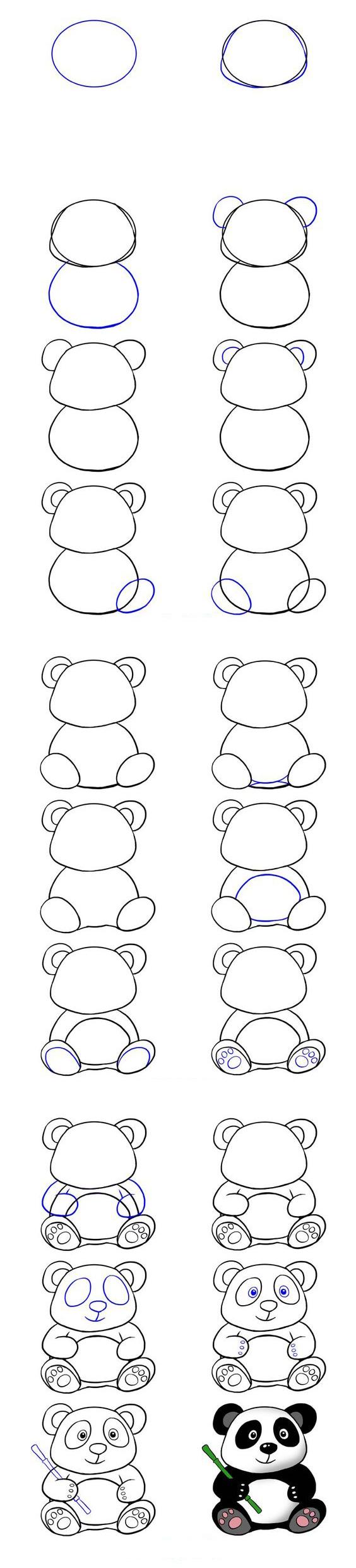 تعليم الرسم للاطفال طريقة رسم دب الباندا خطوة بخطوة بسهولة تامة