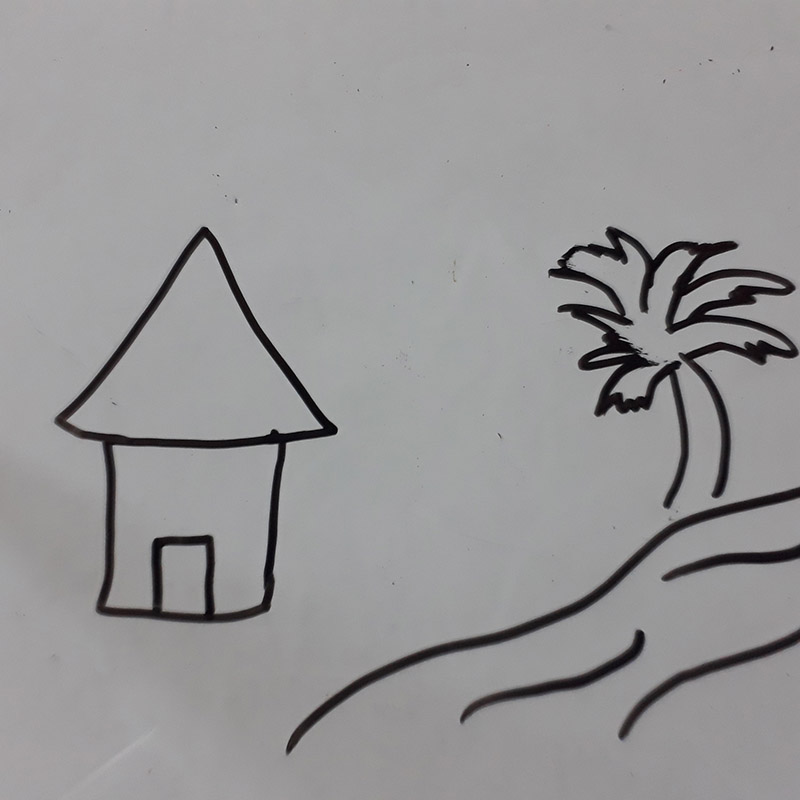 رسم بيت في طبيعة
