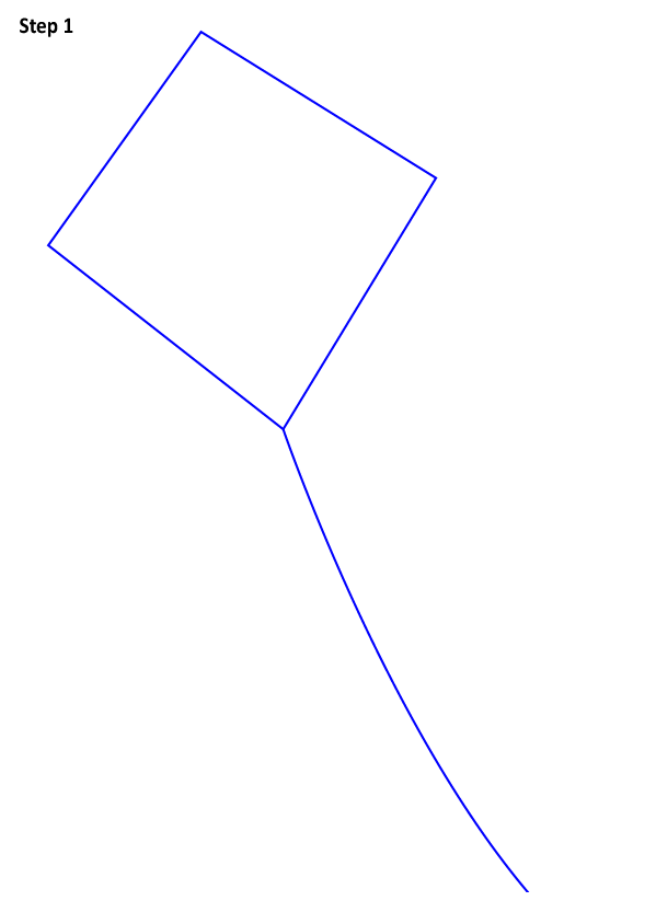 الخطوة الأولى لرسم طائرة ورقية