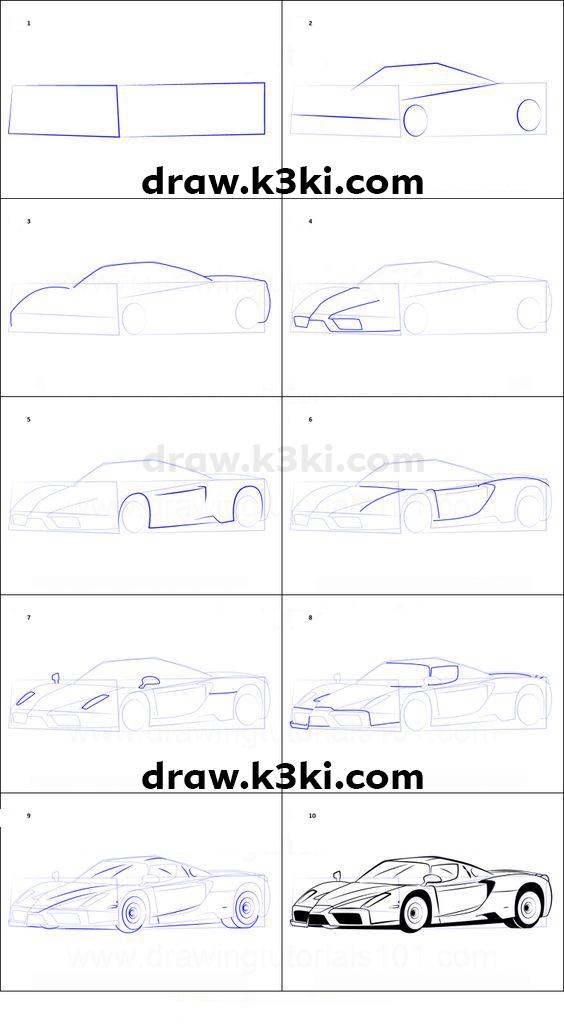 رسم سيارة رياضية