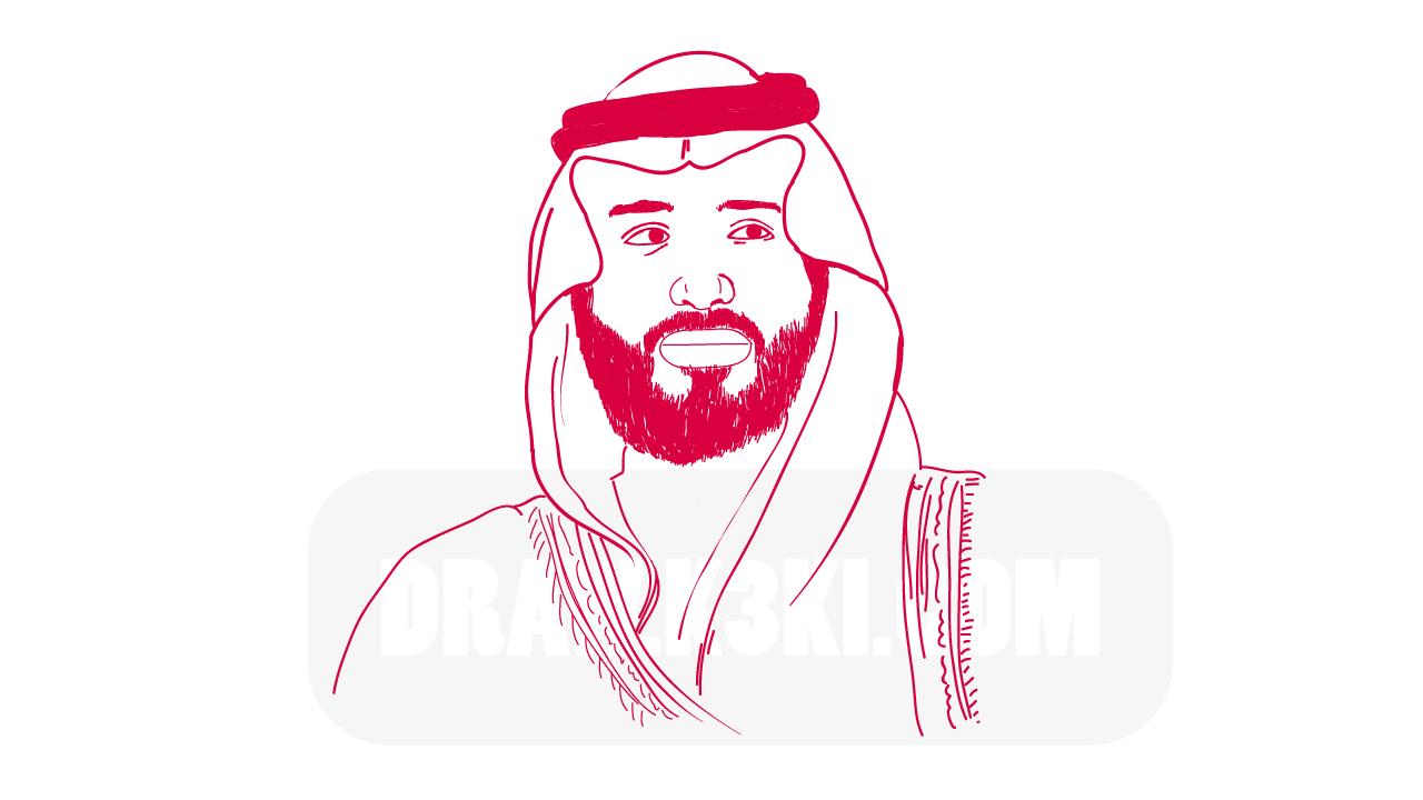 طريقة رسم محمد بن سلمان خطوة بخطوة